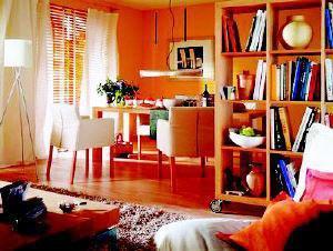 客厅 耀眼的橙色墙格外引人线人